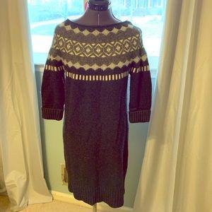Loft- black and gray sweater dress- women's medium